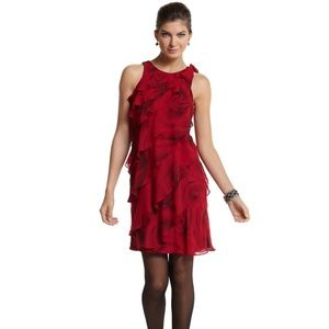 White House Black Market Tiered Rose Print Dress